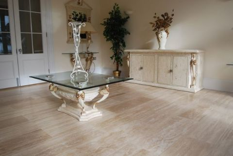 Ivory Travertine Vein Cut Honed Amp Filled Floor And Wall