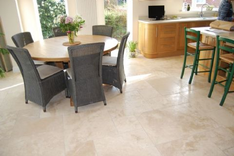 Chiaro Travertine Tumbled & Unfilled Floor Tile